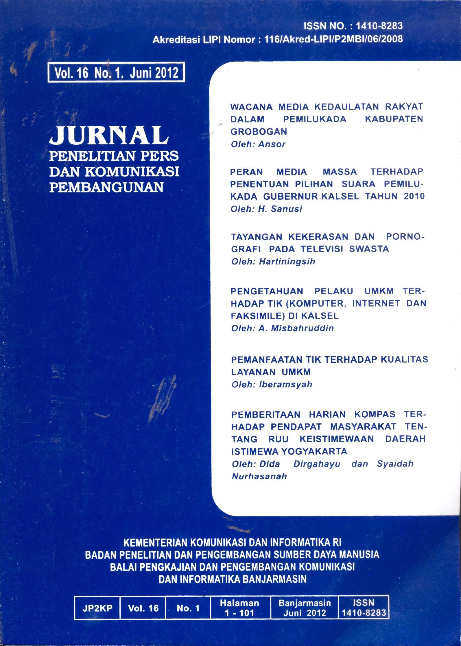 Jurnal Penelitian Pers dan Komunikasi Pembangunan