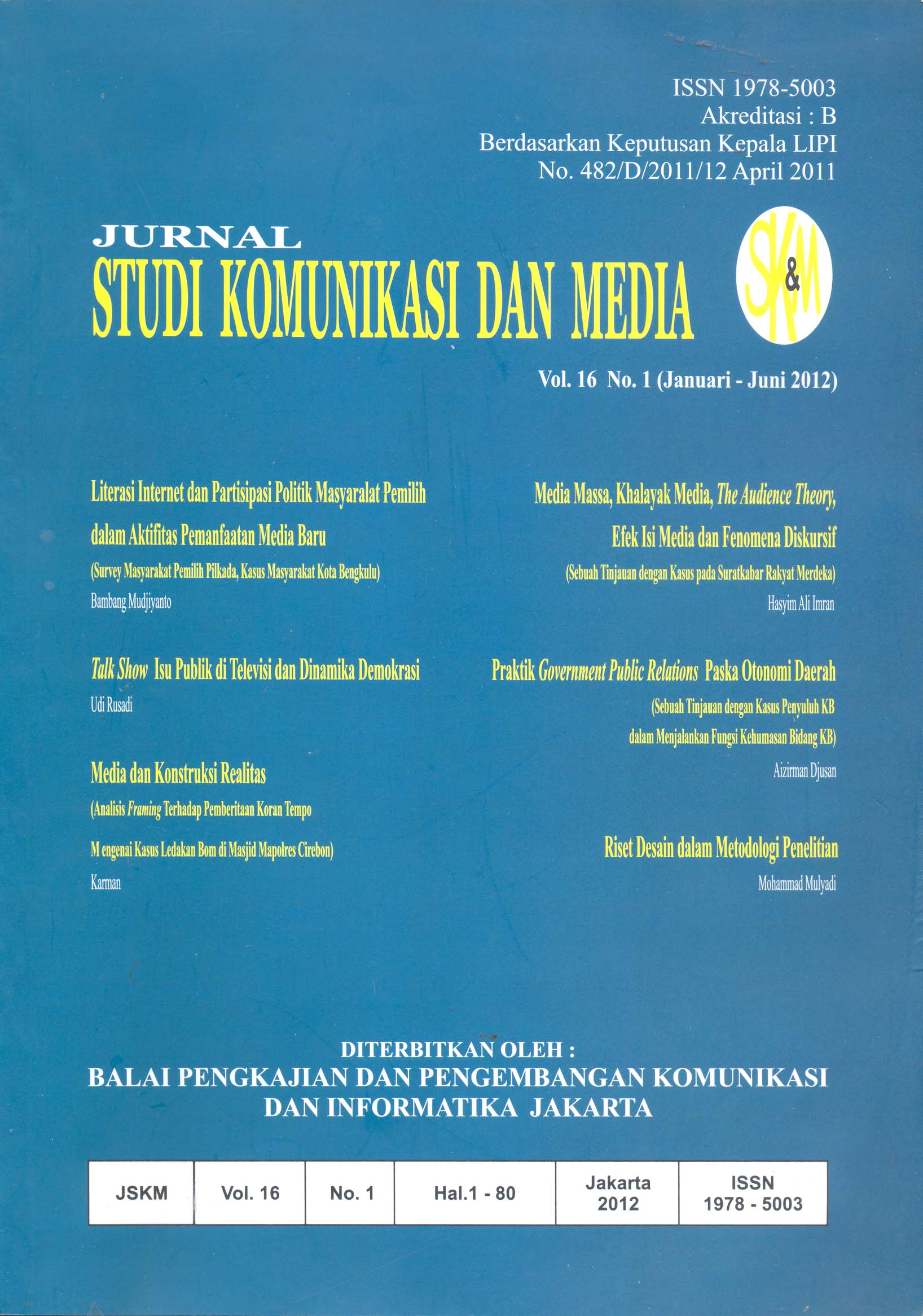 Jurnal Studi Komunikasi dan Media