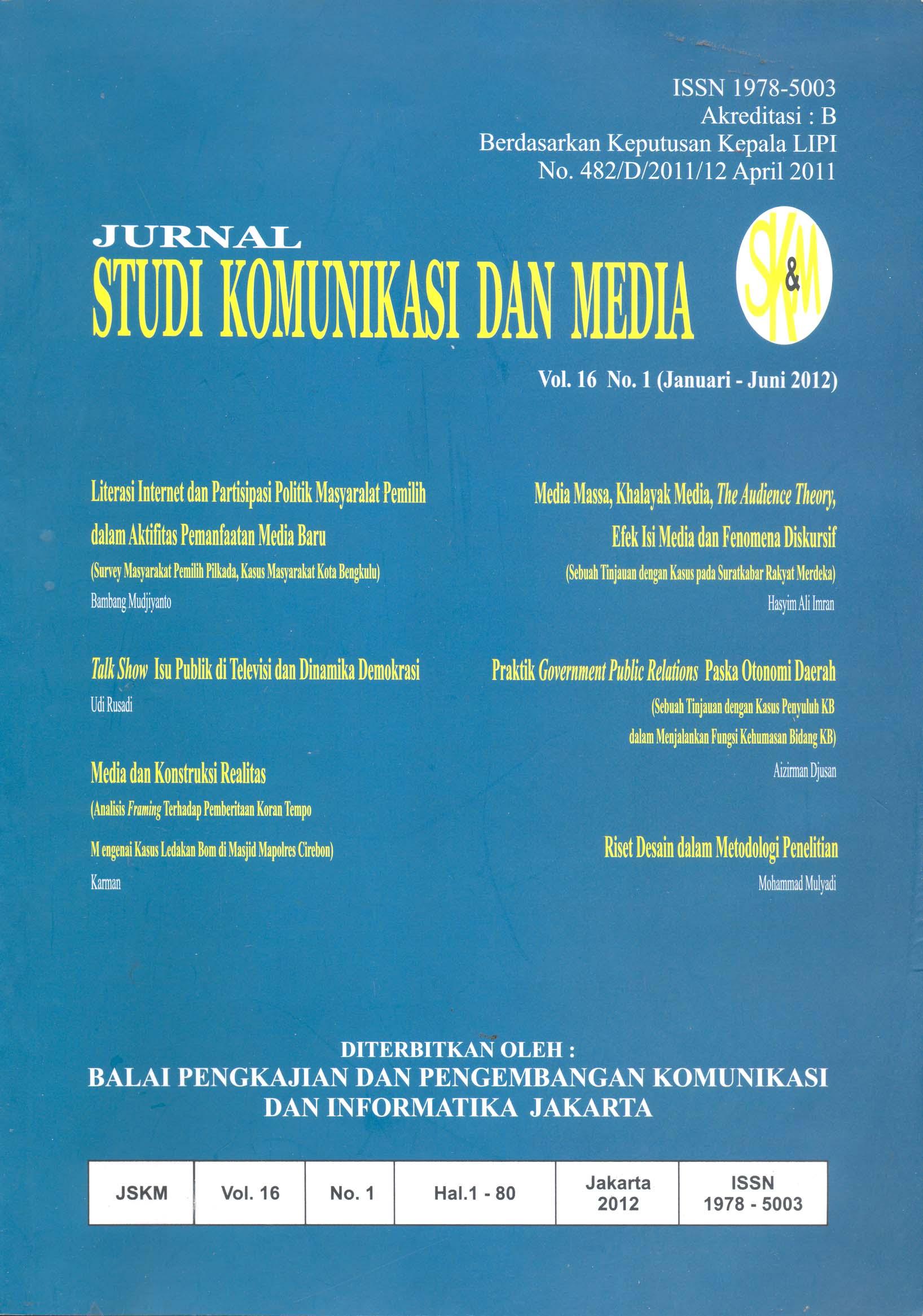 Jurnal Studi Komunikasi dan Media